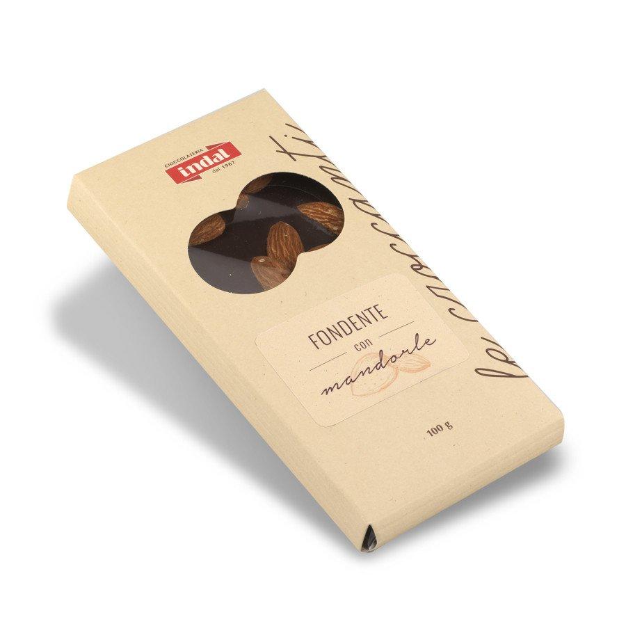 Tavoletta cioccolato fondente con mandorle intere – 100g