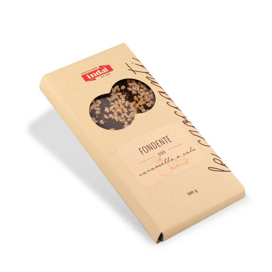 Tavoletta cioccolato fondente con caramello e sale – 100g
