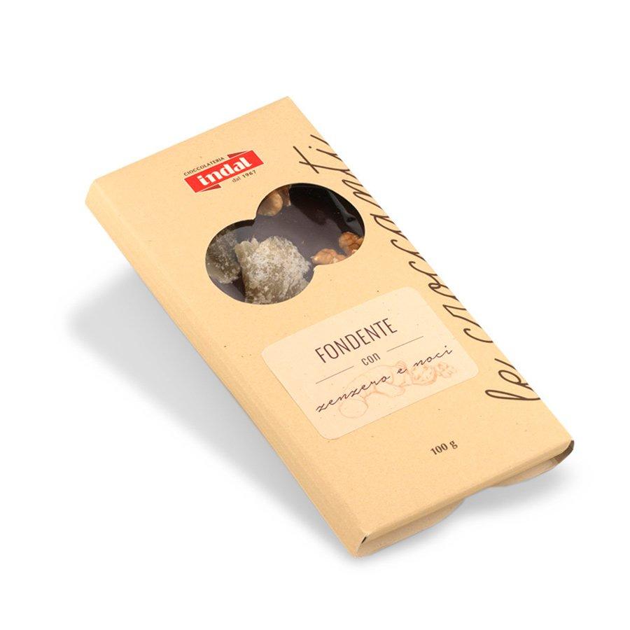 Tavoletta cioccolato fondente con zenzero e noci – 100g