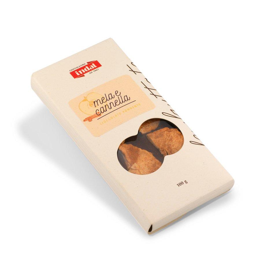 Tavoletta cioccolato fondente con mela e cannella – 100g