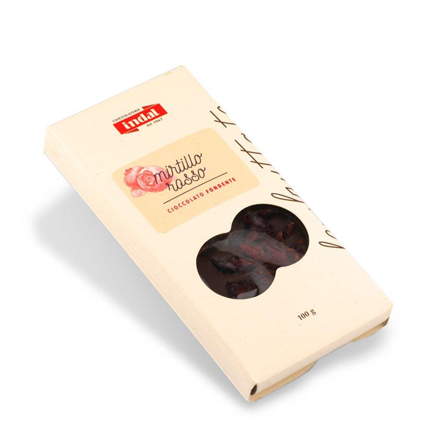 Tavoletta cioccolato fondente con mirtillo rosso – 100g